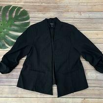 Torrrid Open Front Blazer Jacket Plus Size 1x Black Stretch 3/4 Sleeve Solid Photo