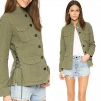 Tory Burch 100% Cotton Green Military-Inspired Side Tie Jacket Sz Xs Photo
