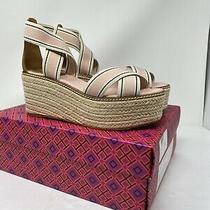 Tory Burch 50 Mm Frieda Blush Stripe Tan 7m Platform Espadrille Sandals New Photo