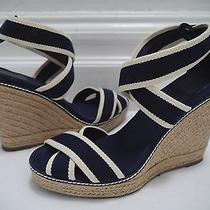 Tory Burch Adonis Navy Ivory Canvas Espadrille Wedge Sandals Size 10 Worn Once Photo