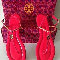 Tory Burch Aine Pink Patent Leather Thong Ankle Strap Sandals. Size 10.5 Photo