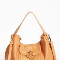 Tory Burch Amanda Aged Vachetta Tan Leather Cross Body Hobo Purse Bag Photo