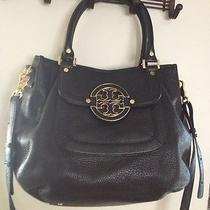 Tory Burch Amanda Hobo Leather Black Satchel Front Logo Bag Purse Tote Photo