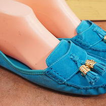 Tory Burch Aqua Blue Suede Loafers 10 M Women's Casual Shoes Photo