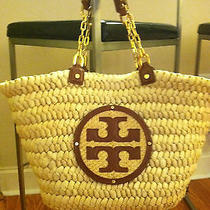 Tory Burch Audrey Straw Tote Natural/cognac Photo
