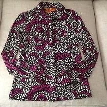 Tory Burch Beautiful Stained Glass Print Silk Jersey Silver Button Blouse Sz M Photo