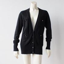 Tory Burch  Black 100% Cashmere v Neck Cardigan Long Sleeve Sweater Sz S  Photo