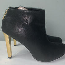 Tory Burch Black Booties High Heel Zip Back Gold Heels Size 10.5  Leather Photo