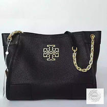 Tory Burch Black Britten Small Slouchy Tote Full Leather Bnwt Photo