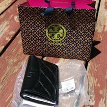 Tory Burch Black Leather Bifold Snap Closure Wallet New W Tags Photo