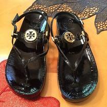 Tory Burch Black Patent Leather T-Strap Sandals Shoes Size 7 M Photo