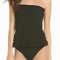 Tory Burch Black Womens Size Xs Smocked Ruffle One-Piece Swimwear 258 584 Photo