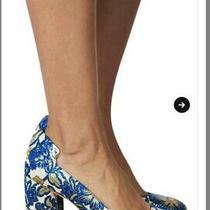 Tory Burch Blue Elizabeth Printed Round-Toe Metallic Floral Matelasse Pump Photo