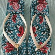Tory Burch Blue White Womens Wedge Flip Flops Sandals Gold Logo Size 6.5-7 Photo
