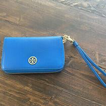 Tory Burch Blue Zip Around Logo Wallet/wristlet Photo