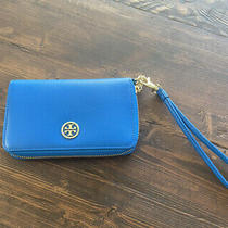 Tory Burch Blue Zip Around Logo Wallet/wristlet Photo