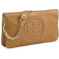 Tory Burch Bombe Reva Logo Flap/shoulder Brouwn Leather Clutch 90009600  201  Photo