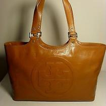 Tory Burch Bombe Tote Bag Large Leather Brown Luggage Nwt Authentic New Photo