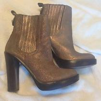 Tory Burch Boots Brown-Gold Genuine Leather Size 55 35  Good Condition Was390 Photo