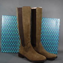 Tory Burch Boots Christy 30mm Riding Boot Flats Lan Grey Coconut Suede 6.5 Nib Photo