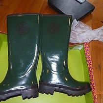 Tory Burch Boots Rain Snow Reva Logo Shoes Wellies Green 6 36 Boot Photo