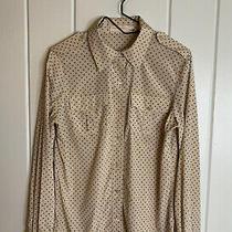 Tory Burch Brigitte Blouse Blush Champagne Mini Black Polka Dot Button-Up Size 6 Photo