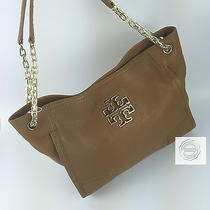 Tory Burch Britten Small Slouchy Tote Bark Brown Full Leather Bnwt Photo