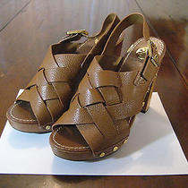 Tory Burch Brown Leather Weave High Heel Clogs Shoes Photo