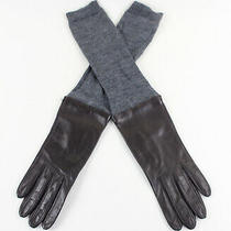 Tory Burch Brown Sheepskin Leather Gray Wool Knit Silk Lined Gloves Size 7.5 Photo