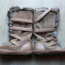 Tory Burch Camel Suede With Tan Leather Strap and Rabbit Hair Boots Sz 7m Photo