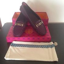 Tory Burch Caralyn Driver Leather Loafers Shoes Flats Purple Plum 295 Size 9.5 Photo