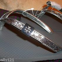 Tory Burch Carey Glitter Flip Flop Sandal Bnib Pewter (Silver) Sz 9 Htf Photo