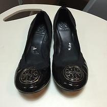 Tory Burch 'Caroline' Elastic Trim Ballet Flat (Women) Size 9m Black Patent Photo