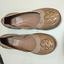 Tory Burch 'Caroline' Elastic Trim Ballet Flat (Women) Size 9m Nude Patent Photo