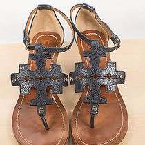 Tory Burch Chandler Wedge Leather Sandals Navy Size 10 Photo