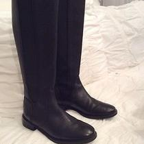 Tory Burch Christy Black Leather Riding Boots Back Zip Logo Size 7 M Photo