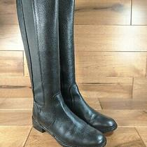 Tory Burch 'Christy' Womens Black Leather Tall Back-Zip Riding Boots Size 8 Photo