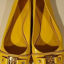 Tory Burch Cline Ladies Leather Yellow Ballet Flats Peep Toe Gold Logo Sz 8.5m Photo