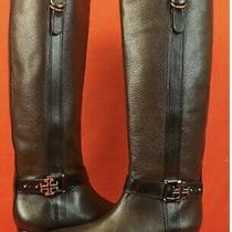 Tory Burch Coconut Leather Elina Gold Reva Tall Riding Belted Boots 6.5 195 Photo