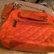 Tory Burch Crossbody Messanger Bag Quilted Nylon Orange Color Small Size 8