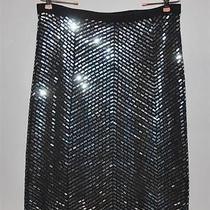 Tory Burch Dark Navy  Dianna  Wool Sweater Skirt W/ Sequins Nwt Large Photo