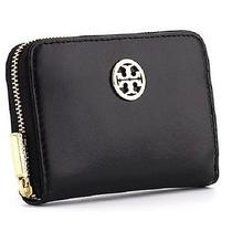 Tory Burch Dena Zip Coin Case Black Leather 90009173 115 Nwt Photo