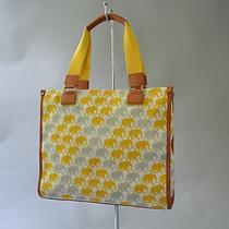 Tory Burch Elephant Print Shoulder Tote Bag Unique & Rare Yellow / Gray Photo