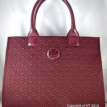 Tory Burch Ella Quilted Burgundy Nylon Large Tote Bag Photo