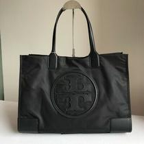 Tory Burch Ella Tote Black Nylon Leather Handbag Large Shoulder Bag Authentic Photo