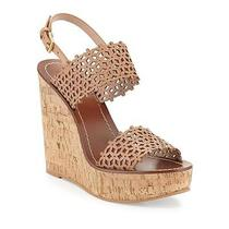 Tory Burch Euc Natural Blush Daisy Perforated Wedge Sandal Size 10 150  Photo