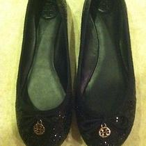 Tory Burch Flats Shoes Black and Gold Chain Size 8 Authentics Photo