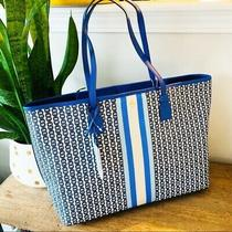 Tory Burch Gemini Link Coated Canvas Leather Strap Tote Purse New Blue White  Photo