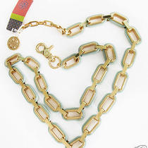 Tory Burch Gold Heidi Link Belt Necklace Chic New Hard to Find M/l Photo