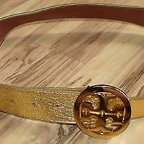Tory Burch Gold Metallic Logo Belt Size Medium W/ Damage  Missing Post / Prong Photo